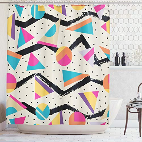 Ambesonne Indie Shower Curtain, Eighties Memphis Fashion Style Geometric Abstract Colorful Design with Dots Funky, Fabric Bathroom Decor Set with Hooks, 70 inches, Cream Pink