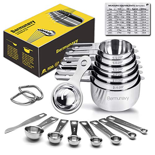 Measuring Cups,Bermunavy Measuring Cups and Spoons Set of 17 in 18/8 Stainless Steel:7 Measuring Cups and 7 Measuring Spoons,Convenient Leveler,Egg Separator,Magnetic Measurement Conversion Chart