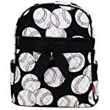 Baseball Print Quilted Backpack- Black