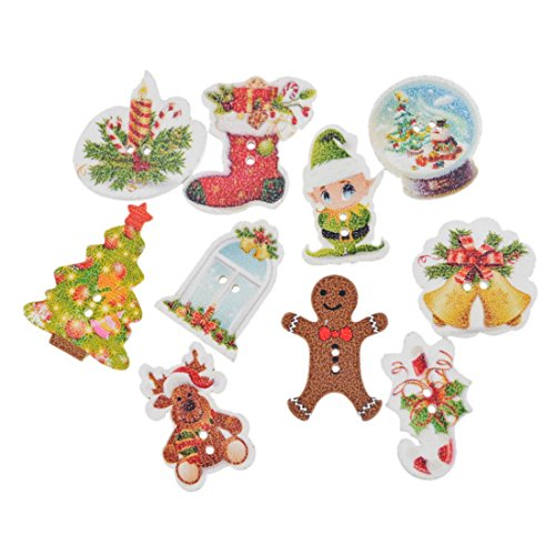 Souarts Random Mixed Christmas Tree Stocking Snowman 2 Holes Wood Wooden Buttons Pack of (Christmas Buttons)