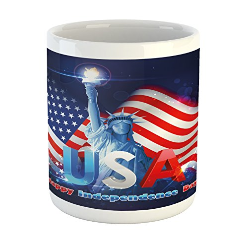 Ambesonne 4th of July Mug, Statue of Liberty Design Holding The Fire of Justice Liberty Graphic Design, Printed Ceramic Coffee Mug Water Tea Drinks Cup, Multicolor