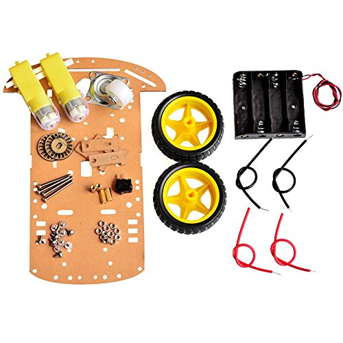 Lexiesxue DIY Programmable 2WD Smart Robot Car Chassis Kit with Motor Speed Encoder Battery Box Arduino 2 Motor 1:48