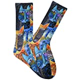 K. Bell Brand Men's Primitive CATS Crews Sock, Size: 10-13 comes with a Helicase Brand Sock Ring