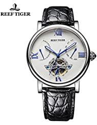 Reef Tiger Mens Casual Tourbillon Watch with Date Day Steel White Dial Alligator Strap Watch RGA191