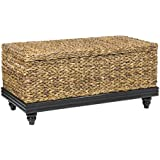 East At Main Coolidge Brown Natural Fiber Abaca Rectangular Coffee Table, 38'x20'x18'