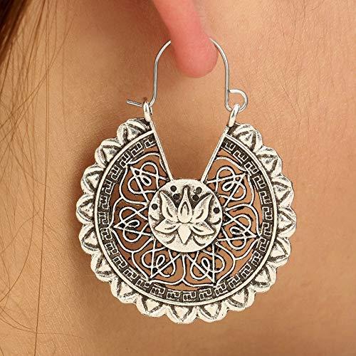 AIUSD Clearance , Women Boho Lotus Earrings Jewelry Ethnic Drop Earrings Enamel Vintage Earrings