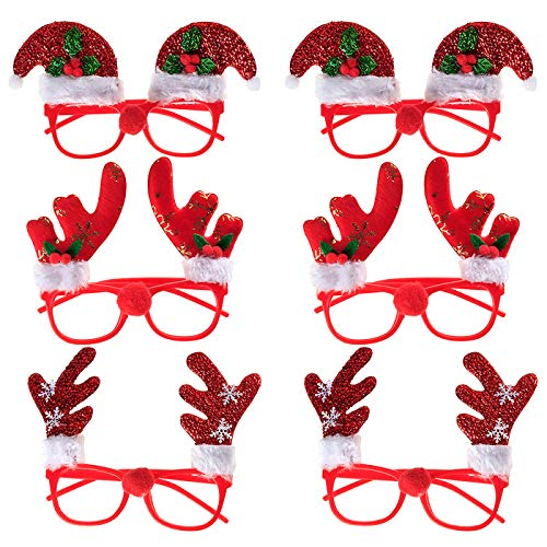 U_star 6pack Christmas Fancy Glasses Frames Christmas Photo Booth Props 3 Designs for Christmas Party Favors Gifts(One Size Fit All) ()