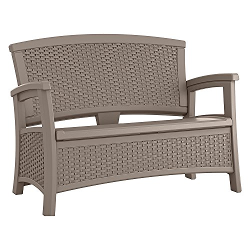 Suncast ELEMENTS Loveseat with Storage, Dark Taupe