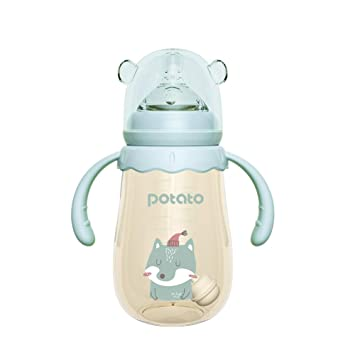 POTATO Baby Bottles PPSU Breastfeeding Bottles for Babies Anti Colic Baby Bottles Wide Neck Off-Centered Bottles Nipples Breast Milk Bottles for Toddlers 2 Pack 6oz Blue