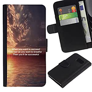 iKiki Tech / Cartera Funda Carcasa - Sunset Inspiring Message Quote Ocean - Samsung Galaxy S6 SM-G920
