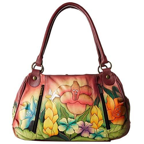 Silver Ruched Large Purse - Anna By Anuschka Satchel Handbag & Purse Holder (Ruched Safari Bloom)