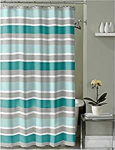 Teal Grey Brown White Embossed Fabric Shower Curtain Striped Design With Hooks