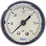 WIKA 9738258 Commercial Pressure Gauge, Liquid-Filled, Copper Alloy Wetted Parts, 1-1/2