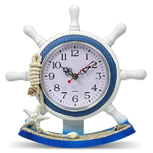 Boating Clocks - Sailboat Steering Wheel Helm Decoration - Nautical Decor - Beach Decorations - 8.5 Inch