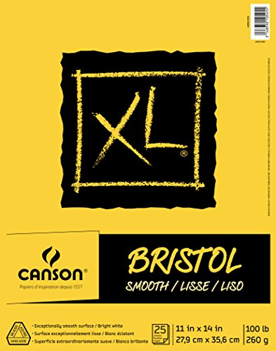 Canson XL Series Bristol Pad, Heavyweight Paper for Ink, Marker or Pencil, Smooth Finish, Fold Over, 100 Pound, 11 x 14 Inch, Bright White, 25 Sheets
