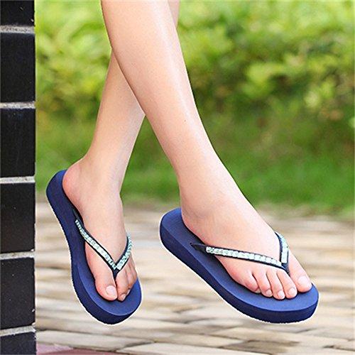 Sandalias Clips Mujer de Tacón Chanclas Imitación Diamantes de Medio Libre Blue de de para al Aire Plataforma Zapatillas Antideslizantes para Sandalias Mujer ZqwTxv5wA