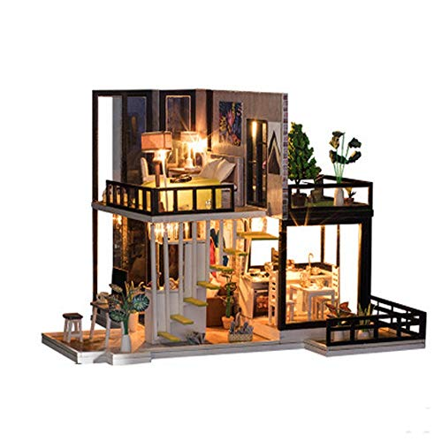 Decorate A Dollhouse - Aimik DIY Dollhouse Wooden Miniature Furniture Kit with LED 3D Puzzle House Decorate Creative Birthday Gifts Christmas Gifts for Kids (F)