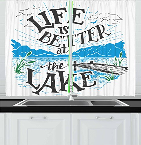 Cabin Window Treatments (Cabin Decor Kitchen Curtains by Ambesonne, Life is Better at the Lake Wooden Pier Plants Mountains Outdoors Sketch, Window Drapes 2 Panel Set for Kitchen Cafe, 55 W X 39 L Inches, Blue Black Green)