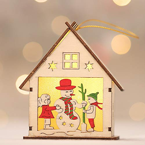 Meka-supplies - LED Light Wooden Dolls House Villa Christmas Ornaments Xmas Tree Hanging Decor New Arrival ping