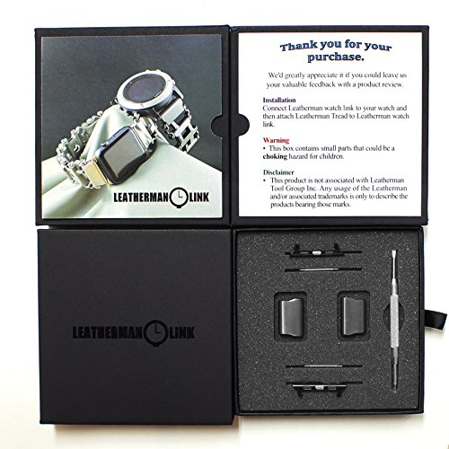 Leatherman Link- watch adapter compatible with LEATHERMAN TREAD - Black (compatible with Apple watch 42mm, Black, TREAD)