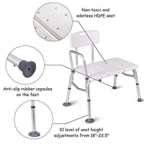 Giantex Shower Bath Seat Medical Adjustable Bathroom Bath Tub Transfer Bench Stool Chair by Giantex (Image #3)