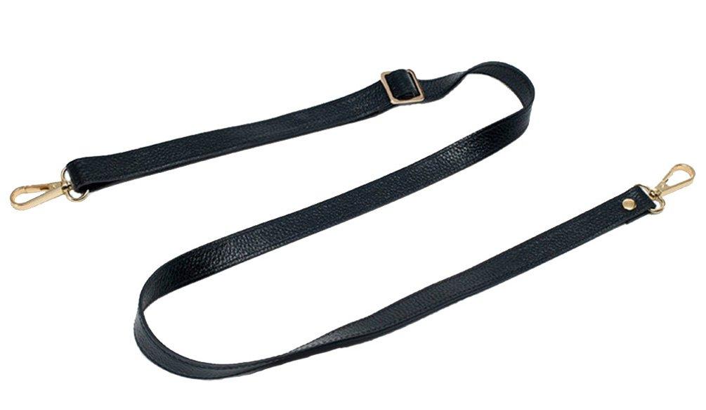 18MM Width Leather Adjustable Length Replacement Cross Body Purse Handbag Bag Shoulder Bag Wallet Strap (Black)