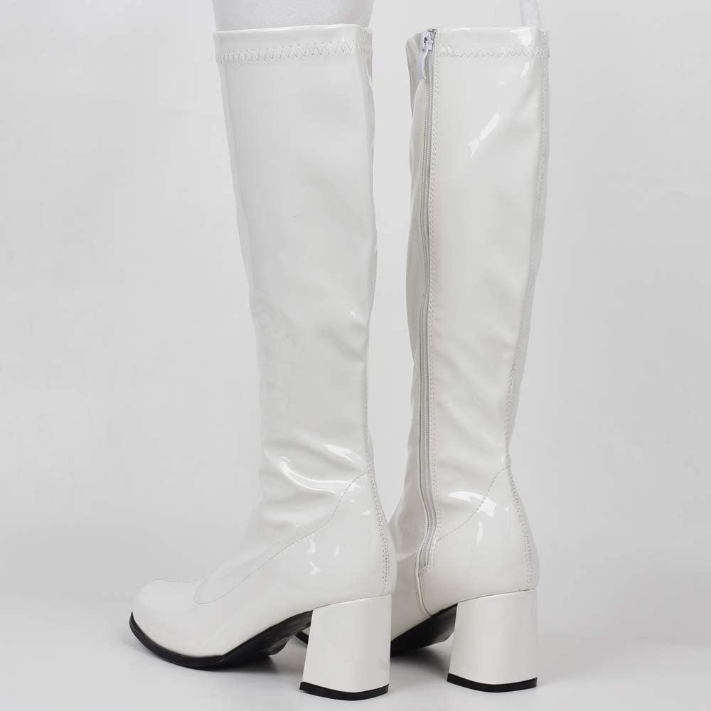 PU Leather Zip Ladies Party Dress Dance Shoes GOGO Boots for Women Knee High Boots