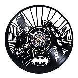 Modern Vinyl Record Wall Clock With Batman and Catwoman Design - Unique Living Room Wall Decor - Original Gift Idea For Boys and Girls - Exclusive Comics Superheroes Fan Art