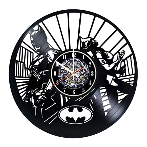 Modern Vinyl Record Wall Clock With Batman and Catwoman Design - Unique Living Room Wall Decor - Original Gift Idea For Boys and Girls - Exclusive Comics Superheroes Fan Art