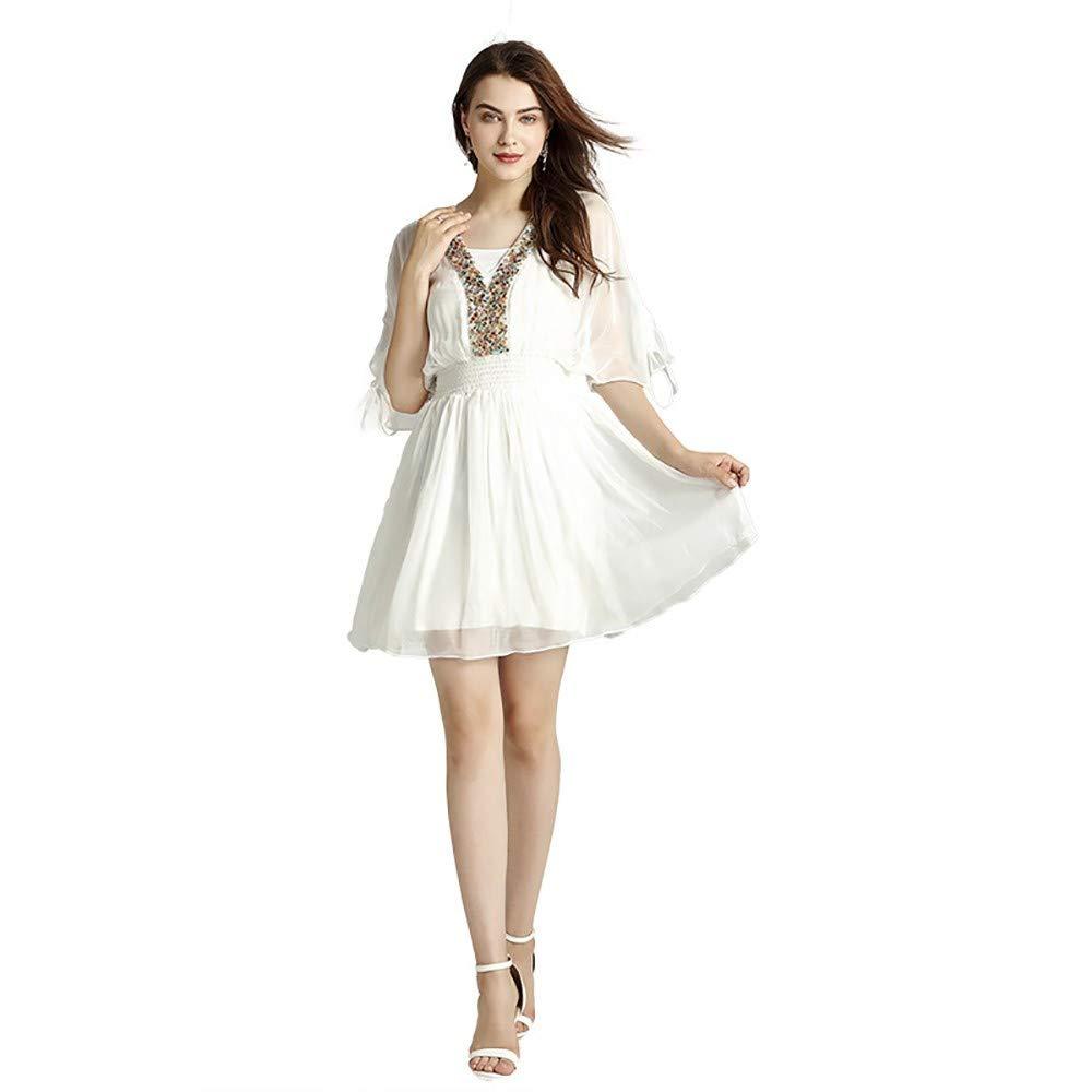 BAOHOKE Women's White Elegant Mini Dress,Spring and Summer New Dresses(White,M)
