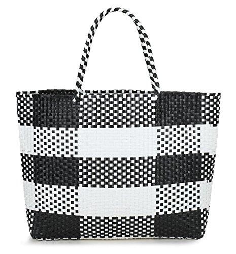 inOne Large Capacity Plaid Check Tote Bag Handbag Handmade Woven PP Beach Basket Black & White ()