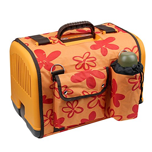 Happy Pet Dog Cat Rabbit Airline Approved Plastic Kennel Travel Carrier Car Travel Vet Visit Pet Carrier (Orange with cover)