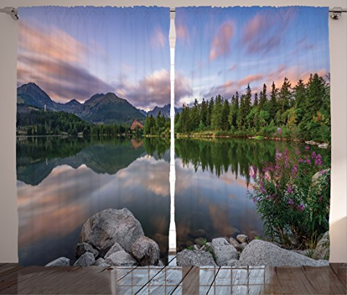 Ambesonne Scenery House Decor Curtains, Small Lake with Cloud Reflection and Pine Trees Romantic Habitat Scene Art, Living Room Bedroom Window Drapes 2 Panel Set, 108W X 84L inches, ()