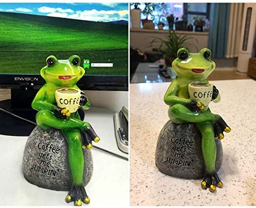 OwMell Green Frog Sitting Statue, Frogs Garden Decor Statues for Yard and Garden, Indoor Outdoor Decoration Sculpture 6 Inch
