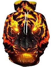 Loveternal Unisex huvtröja 3D-tryckt huvtröja sweatshirt jumper långärmad tröja med ficktopp ledig S-XXL