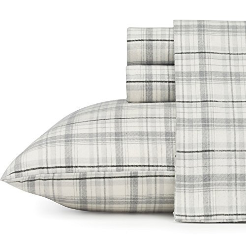 Eddie Bauer Beacon Hill Flannel Sheet Set, Full, Gray