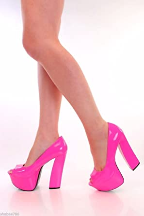 Pink high heeled shoes- peep toe.
