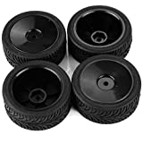 SkyQ Black RC 1/10 Car On Road Wheel Rim & Tyre Tires Fit for HSP HPI REDCAT Pack of 4