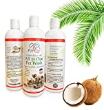 Professional All-in-One Natural Dog Shampoo for Healthy Skin & Coat, Plant Based Pet Care Wash, Dogs & Cats with Sensitive Skin. Cleaner, Deodorizer, Moisturizer, Conditioner & Detangler-Made in USA
