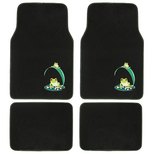 BDK MT-512 Green Carpet Car Floor Mats, 4 Pieces Front & Rear Full Set with Rubber Backing, Universal Fit, Frog Carpet Floor Mats Rear Wheel