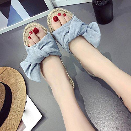 HARRYSTORE Las señoras del verano que hacen punto calzan las sandalias de la hierba de la playa de los zapatos planos de las mujeres Azul