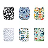 ALVABABY Cloth Diaper Pocket Washable Adjustable Reuseable Boy&Girl Baby Nappies 6PCS+12 Inserts Gift Sets 6DM12-CA