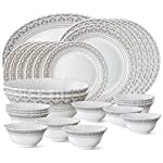 Larah by Borosil Classic Opalware Dinner Set, 27-Pieces, White