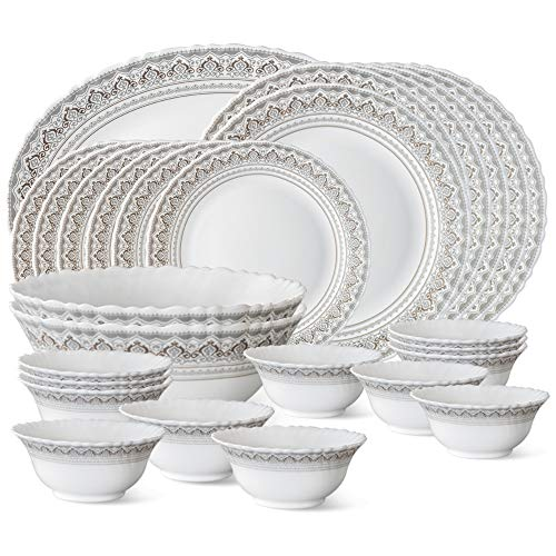 Larah by Borosil Classic Opalware Dinner Set, 27-Pieces, White Price & Reviews