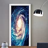 Gzhihine custom made 3d door stickers Tapestry Starry Sky Galaxy Night Sky Full of Stars Forest Starry Mandala Popular Psychedelic Art For Room Decor 30x79