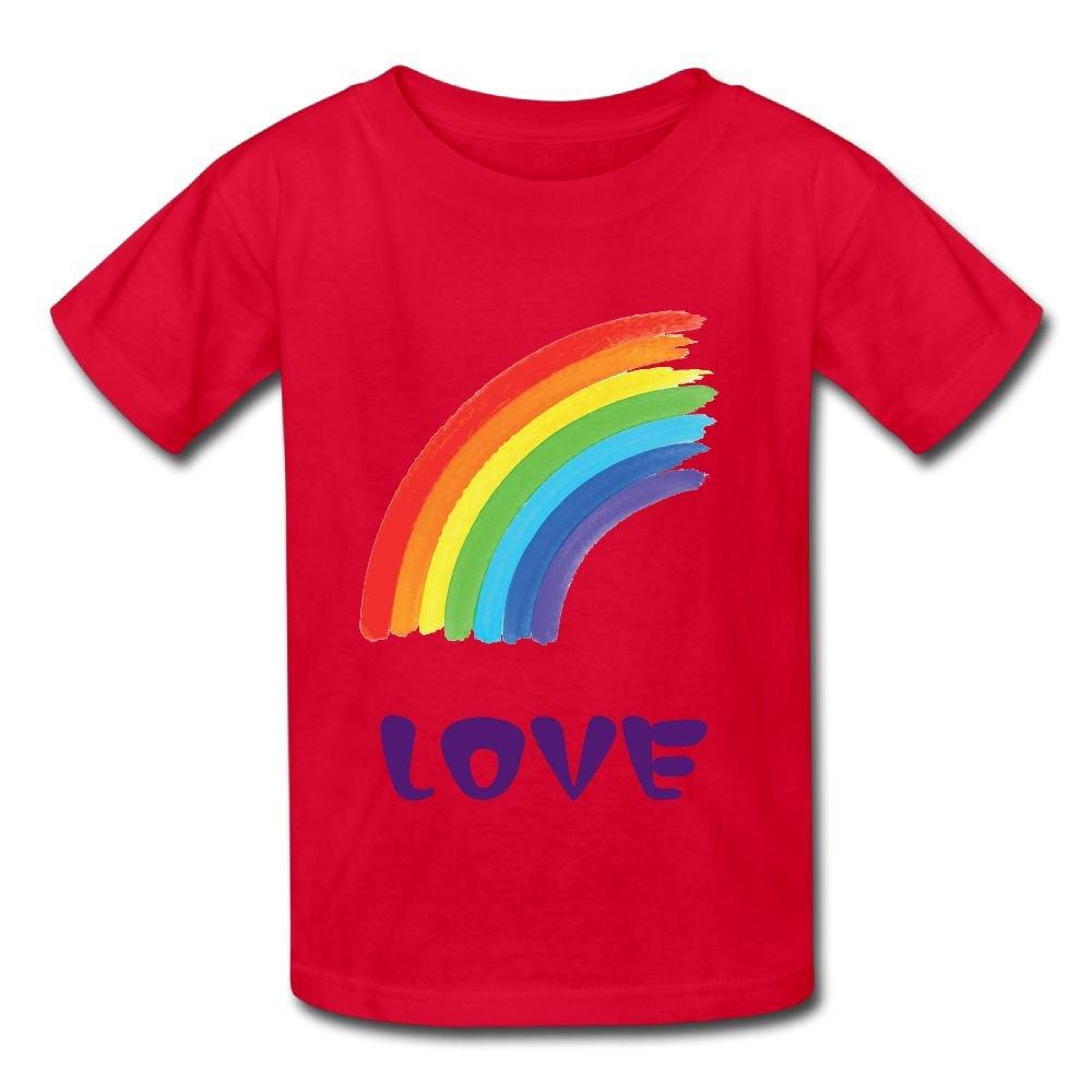 ACFUNEJRQ Half Curve Rainbow Pure Color 6-24 Months Boy/&Girl Short-Sleeved T-Shirt