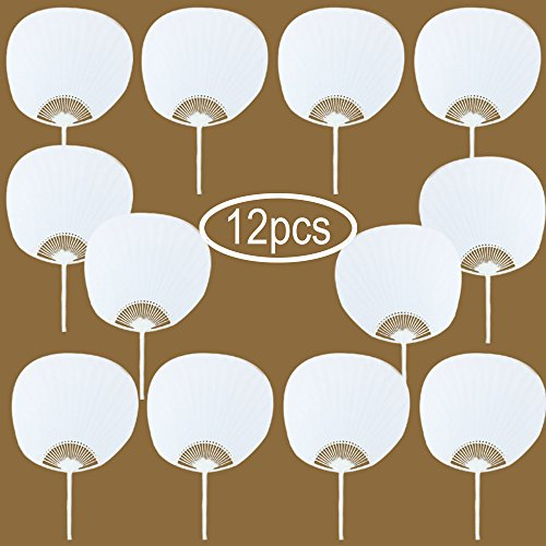 WER Round White Blank Paper Handheld Folded Fan Bridal Dancing Props Church Wedding Gift Party Favors Home Office DIY Decor(12pcs) ()