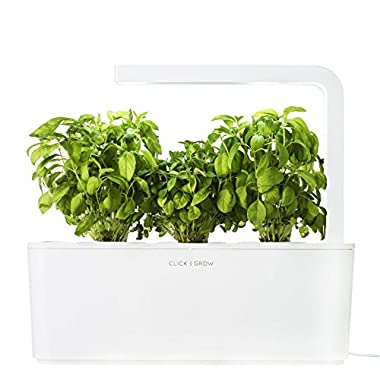 Click & Grow Indoor Smart Herb Garden with 3 Basil Cartridges, White Lid