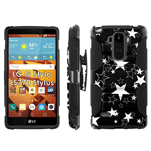 LG G Stylo LS770 H631 Phone Cover, Star Tattoo Print- Blitz Hybrid Armor Phone Case for [LG G Stylo LS770 H631] with [Kickstand and Holster] by Mobiflare
