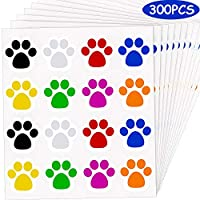 300 Pieces 1.5 Inch Colorful Paw Print Stickers Dog Paw Labels Stickers Bear Paw Print Stickers (Mixed Color)